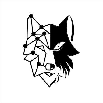 늑대 로고 반 굵은 선 벡터 동물 그림
