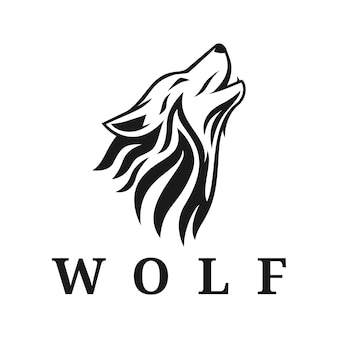 オオカミのロゴのインスピレーションベクトルシルエット夜の入れ墨部族