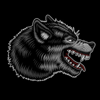 Wolf logo isolated on dark