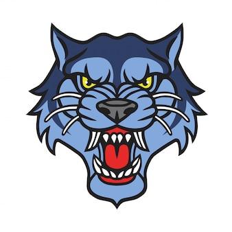 Wolf logo tattoo retro vector design template