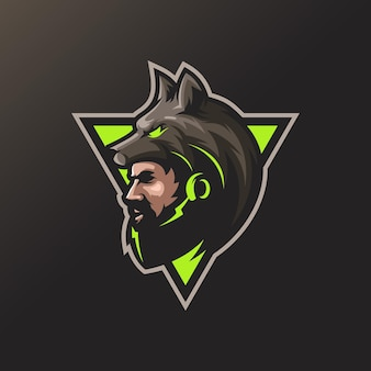 Wolf man logo design for your sport