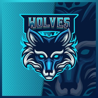 늑대 마스코트 esport 로고 디자인 일러스트 템플릿