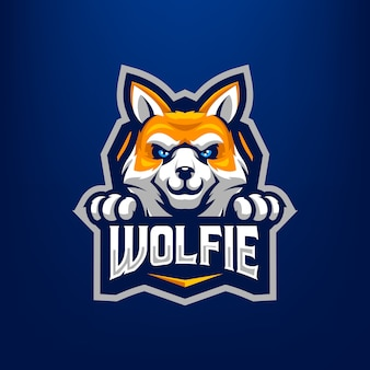 Wolf mascot illustration for sports and esports logo isolated on dark blue background