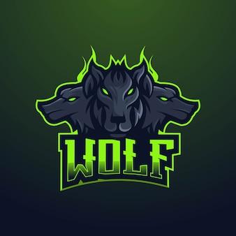 オオカミのマスコットのロゴのデザイン。ゲーム用の3匹の黒いオオカミ