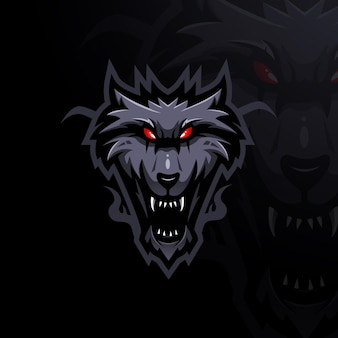 Wolf mascot logo design vector with modern illustration concept style for badge emblem and t shirt p