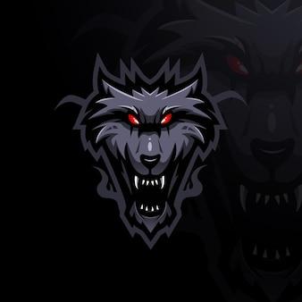 배지 엠블럼 및 티셔츠 p에 대한 현대적인 일러스트레이션 개념 스타일이 있는 늑대 마스코트 로고 디자인 벡터