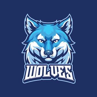 Wolf mascot logo template for esport and sport logo team
