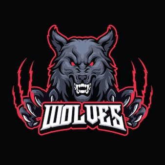 Eスポーツとスポーツのロゴチームのためのオオカミのマスコットのロゴのテンプレート