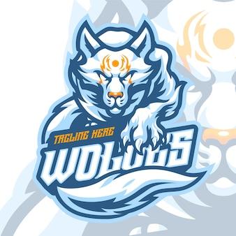 Шаблон логотипа талисмана волка Premium векторы