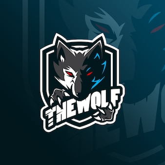 Wolf  mascot logo  with modern illustration  style for badge, emblem and tshirt printing.