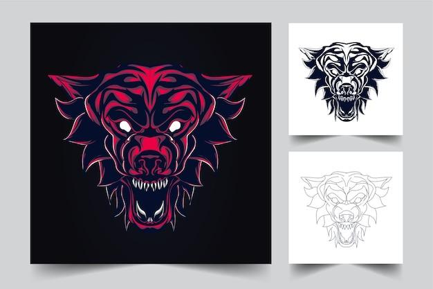オオカミのマスコットのロゴ