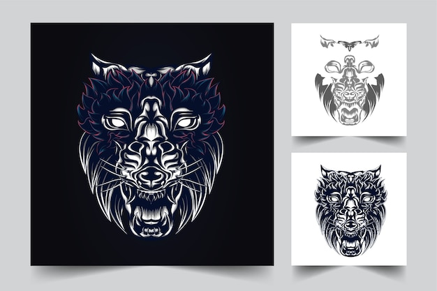 Волк талисман логотип