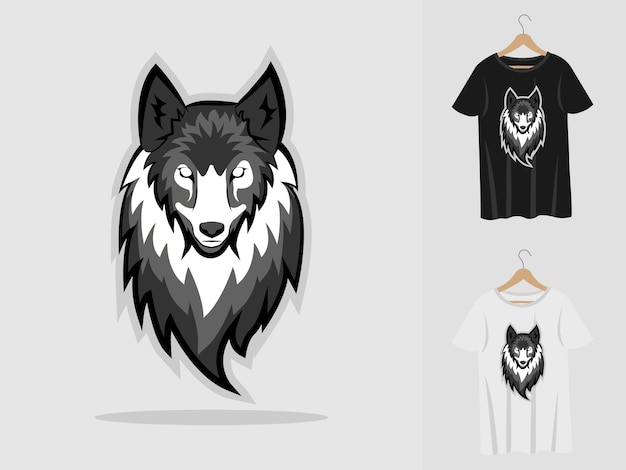 Wolf mascot with t-shirts