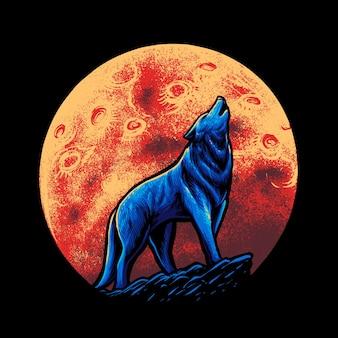 Wolf and moon  illustration