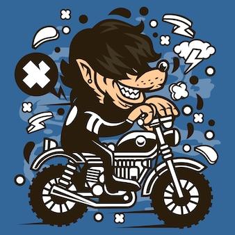 Wolf motocrosser cartoon