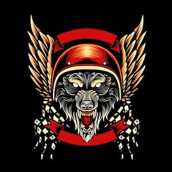 Wolf motorcycle club mascot Premium Vector