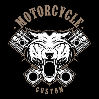 Wolf motorcycle with piston illustration