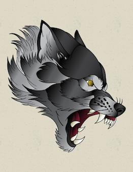 オオカミのネオトラディショナルタトゥー