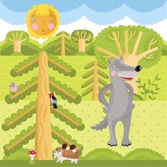 Волк в лесу.
