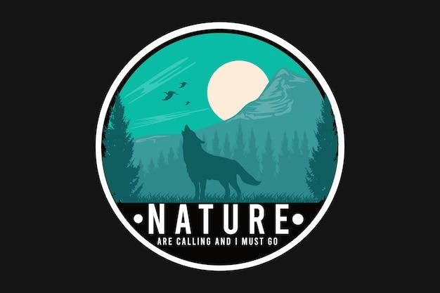 밤 실루엣 디자인에 자연에 늑대