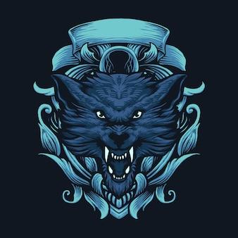 オオカミの飾りベクトルアートイラスト