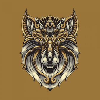 Wolf ornamental illustration