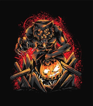 Wolf and pumpkin illustration  illustration. suitable for t shirt, print, and merchandise products