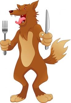 Wolf ready to eat cartoon