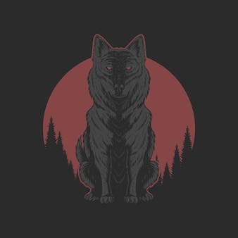 Wolf and red moon illutration