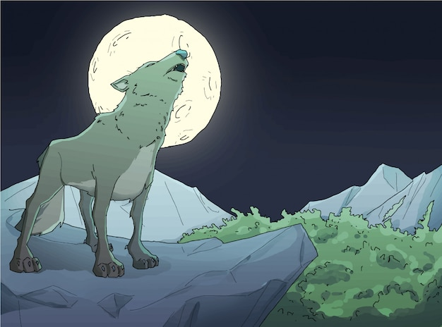 Wolf roared over the cliffs with full moon illustration