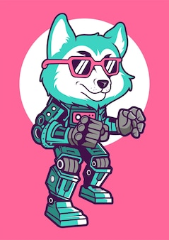 Wolf robot hand drawn illustration