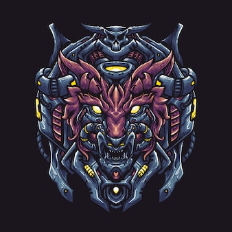Wolf robot head illustration