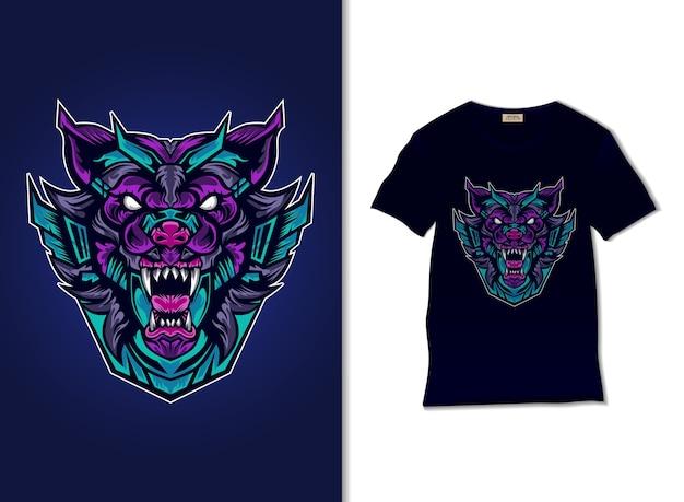 Wolf robot illustration with t shirt design, hand drawn