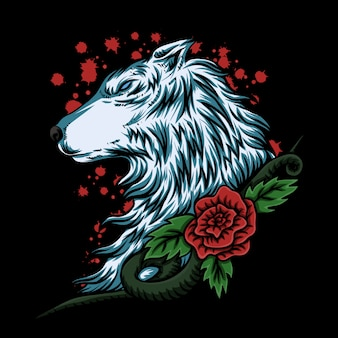 Wolf rose vector illustration