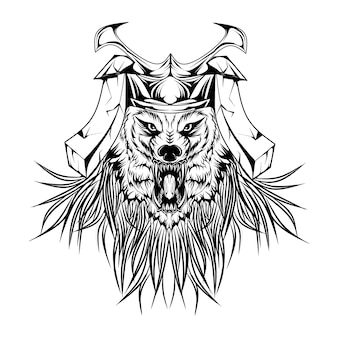 Wolf samurai in black white
