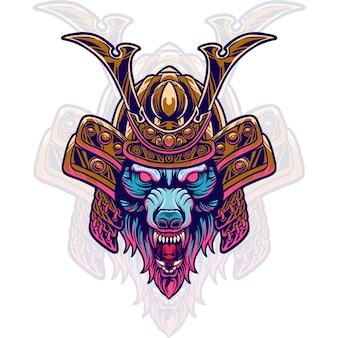 Wolf samurai head illustration