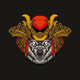 オオカミ侍の頭のベクトル図