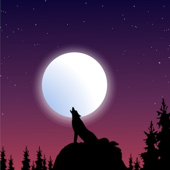 Wolf silhouette background