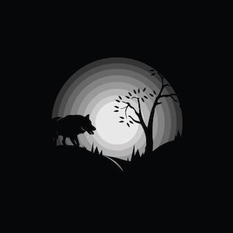 Wolf silhouette in the forest, black and white illustration
