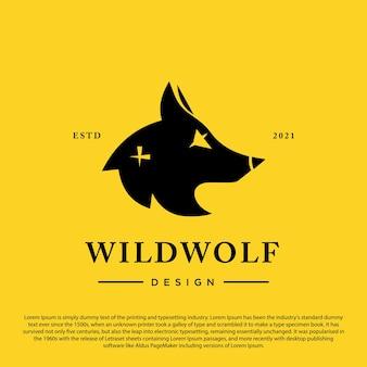 노란색 배경 벡터 일러스트 레이 션 늑대 머리 벡터 그래픽 상징에 고립 된 늑대 실루엣