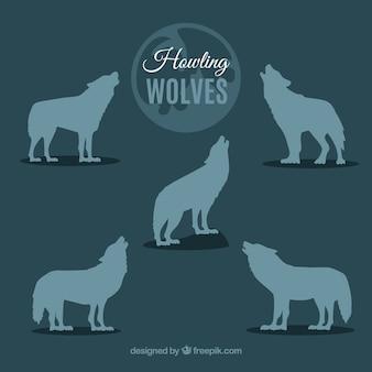 Collezione di sagome di lupo