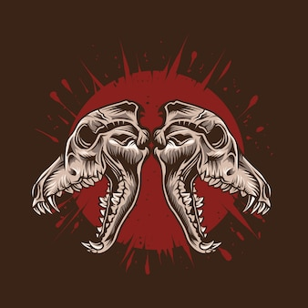 Wolf skull  illustration with red blood  detailed artwork