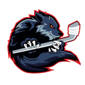 Wolf sport mascot hockey logo