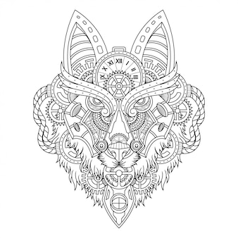 Wolf steampunk illustration lineal style