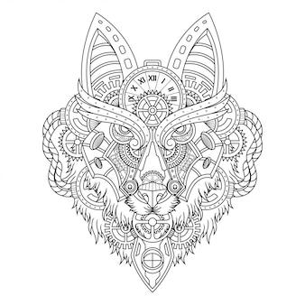 オオカミのスチームパンクなイラストの直線的なスタイル