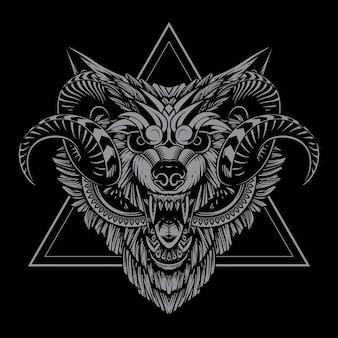 늑대 황소 그림과 tshirt 디자인