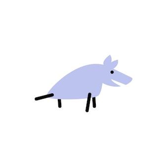 狼。太字の線スタイルのベクトルのロゴ