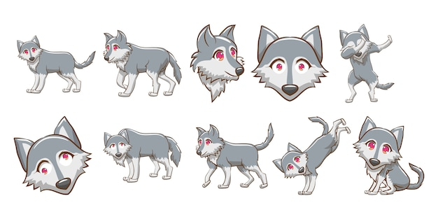 Wolf vector set clipart Premium Vector
