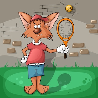 The wolf very hard playing tennis