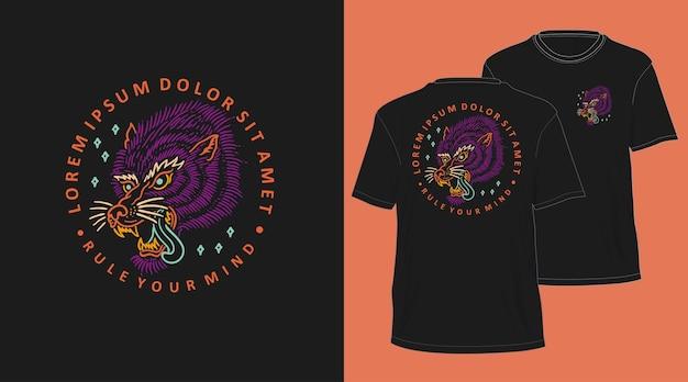 オオカミヴィンテージモノライン手描きtシャツデザイン